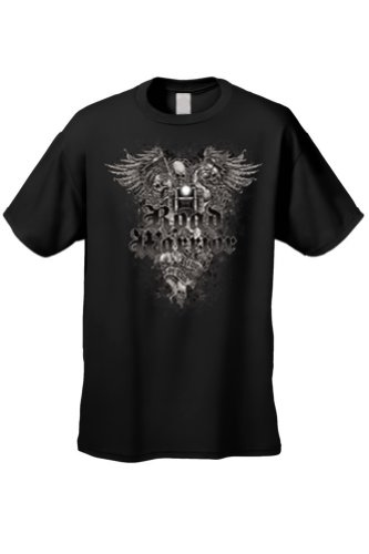 Men's/Unisex Biker Road Warrior Skeleton BLACK Short Sleeve T-shirt (XXL)