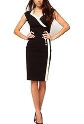 WIIPU Womens Casual Button Career business Bodycon Pencil Dress(J269)