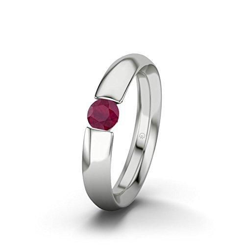 21DIAMONDS Isobel Ruby Brilliant Cut Women's Ring 14Carat (585) White Gold Engagement Ring