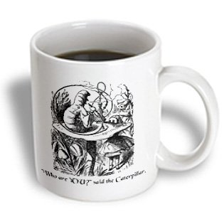 3Drose Mug_193796_2 Who Are You Smoking Caterpillar Quote From Alice In Wonderland Ceramic Mug, 15-Ounce