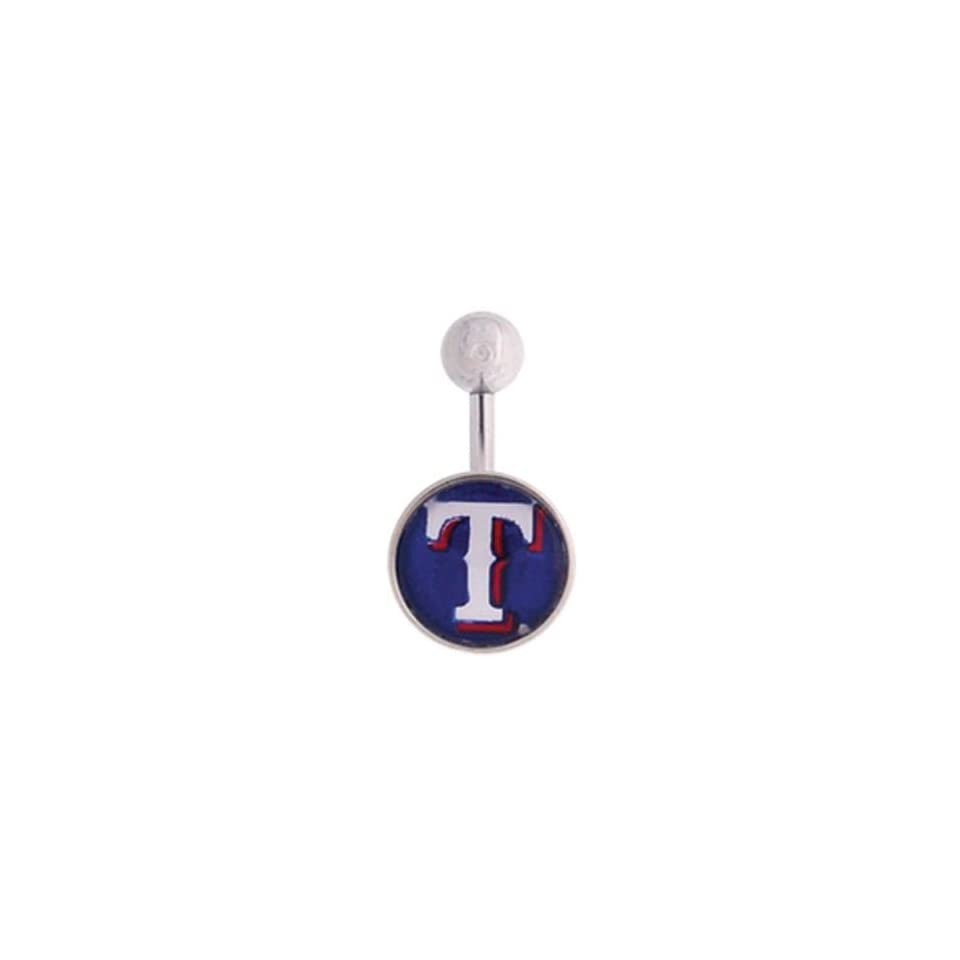 Texas Rangers 316L Stainless Steel Belly Ring   14G   3/8 Inch Bar Length   Sold Individually