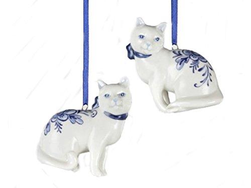 Kurt Adler Porcelain Delft Blue Cat Ornament