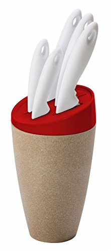 Omada Ecoliving 5-Piece Knife Set With Block (Red)