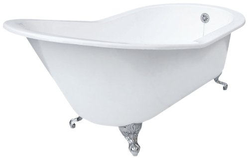 Best Price! Elizabethan Classics ECGDSLCP0HOLE Cast Iron Grand Slipper Tub with Less Faucet Holes, C...