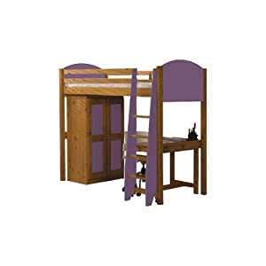 Single High Sleeper Bunk Bed Pieces Included: Bed Frame / Tall Boy / 7 Drawer Chest, Finish: Purple