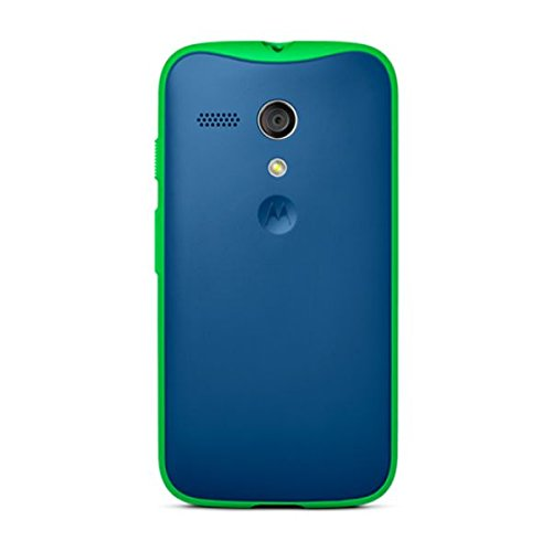 Motorola Grip Shell for Moto G - Retail Packaging - Royal Blue + Green TPU