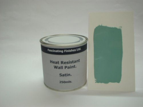 1 x 250ml Satin Duck Egg Heat Resistant Wall Paint. Wood Burner Stove Alcove. Brick, Concrete, Plaster, Cement Board, Rendering, Metal, Timber etc.