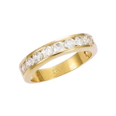 18K Gold Plated Clear Cubic Zirconia Half Eternity Wedding Band Ring - Size 6