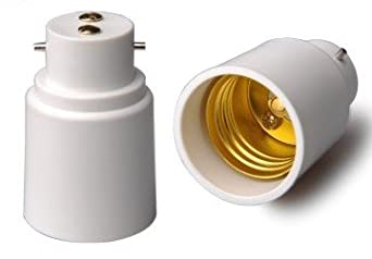 Lighting EVER BC B22 to Standard Medium Screw E27 Light Bulb Socket Adapter, Pack of 2 Units
