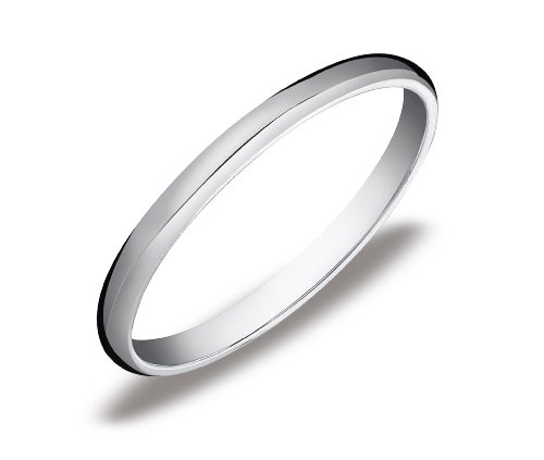 Women's 10k White Gold 2mm Traditional Wedding Band Ring, Size 7