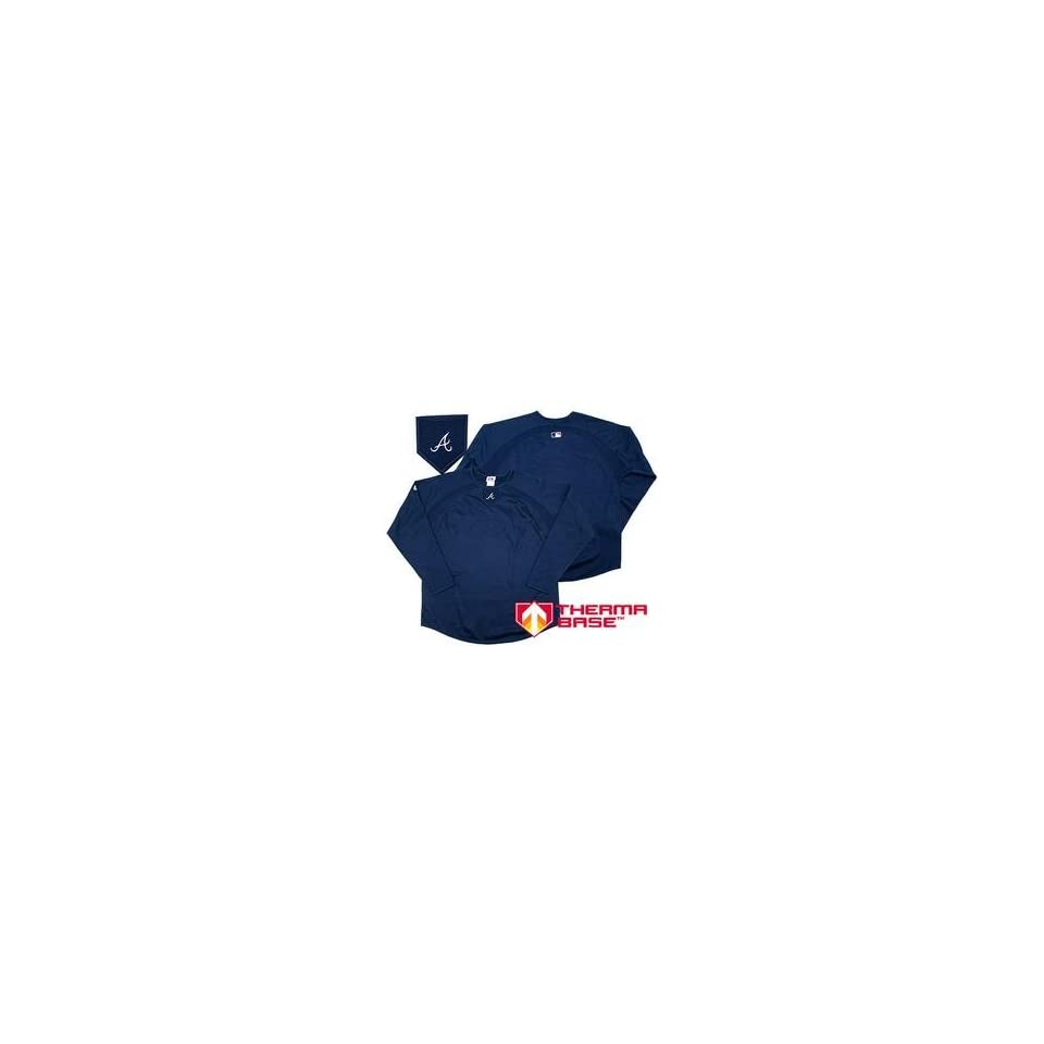 Atlanta Braves Authentic Collection Youth Therma Base Fleece by Majestic Athletic   Navy Medium