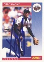 Greg Gagne Minnesota Twins 1992 Score Autographed Hand Signed Trading Card. by Hall+of+Fame+Memorabilia