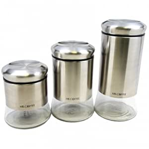 amazon com mr coffee 3 piece canister set stainless