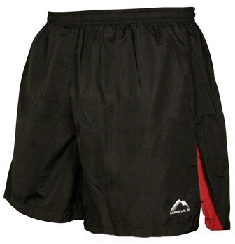 Mens More Mile 5 inch baggy running shorts in Black with a red panel