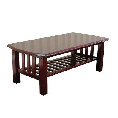 Buy Low Price Elite Stanford Rectangular Wood Top Coffee Table With Slatted Magazine Shelf 38