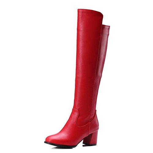 AalarDom Donna Puro Tacco Medio Punta Tonda Luccichio Cerniera Stivali con Metallo, Rosso, 40