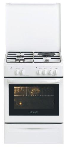 Brandt KMP1010W Cuisinière Mixte Gaz et Electrique Pose Libre 59,5 cm Classe: A Blanc