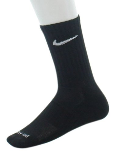 Nike Unisex Dri-Fit Crew 6-Pair Pack Black/(White) Lg (Men'S Shoe 8-12, Women'S Shoe 10-13)