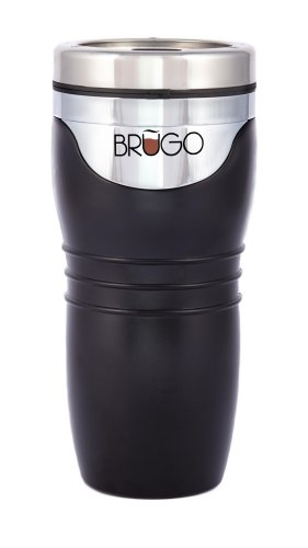 BRUGO 2nd Generation Leakproof Travel Mug with Built-in Temperature Control Chamber, Midnight Black