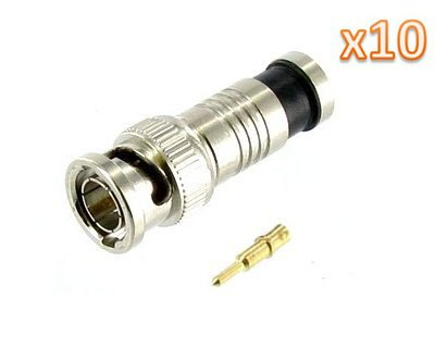 Kobwa(Tm) Bnc Male Compression Coax Connectors For Rg59 Cable(Set Of 10 Pair) With Kobwa'S Keyring