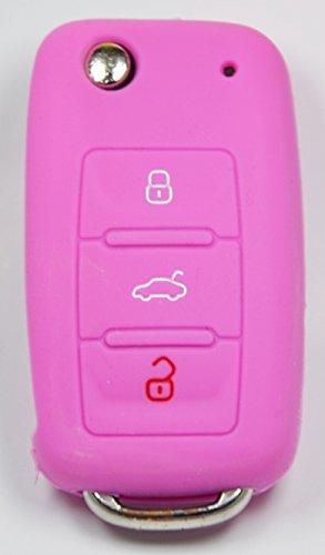 Volkswagen-Seat-Skoda-Chiavi auto telecomando con-3Tasti-Chiave Cellulare-Key Cover-Rosa/Rosa-Rivestimento protettivo per-Chiave pieghevole