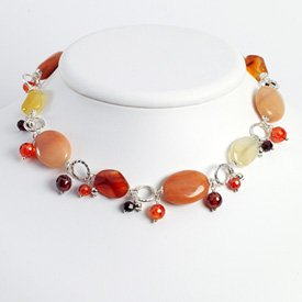 Sterling Silver Lt Siam Crystal/Carnelian/Garnet/Red Aventurine Necklace 16