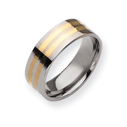 Titanium 14k Gold Inlay Flat 8mm Polished Band, Size 6.5