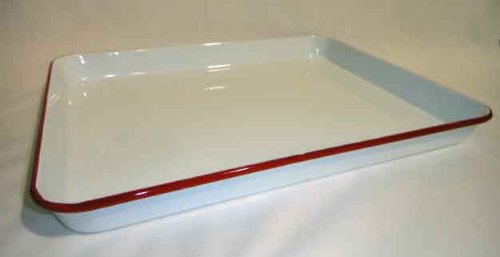 Enamelware Jelly Roll Pan Or Large Cookie Sheet, Vintage White With Red Rim