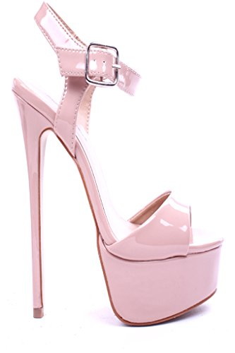 Mixx Patent Faux Leather Open Toe Ankle Dress Sandals Heel Shoes Nude 7 back-496532