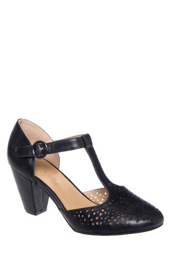 Chelsea Crew Zoe High Heel Perforated T-Strap Pump