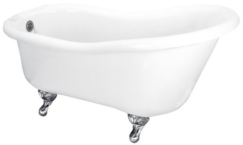 Best Prices! Elizabethan Classics ECUSASL67UFB 66-Inch Acrylic Slipper Tub with Tub Rim Holes, Uncoa...