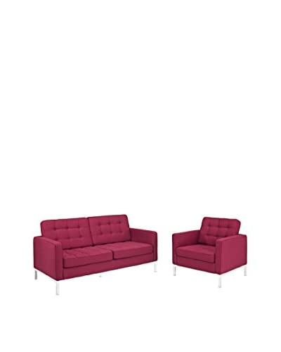Modway Loft Armchair & Loveseat Set, Red Tweed