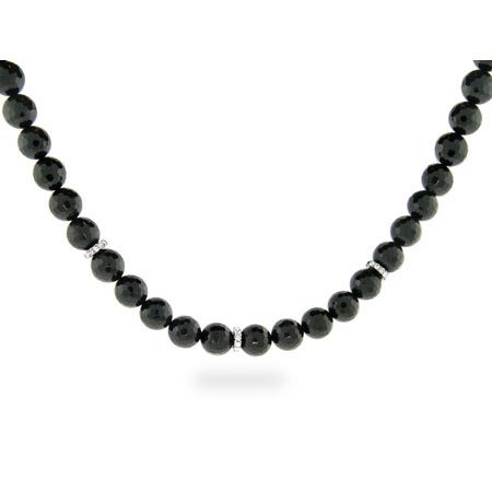Black Onyx Faceted Bead Necklace with CZ Disco Ball Clasp