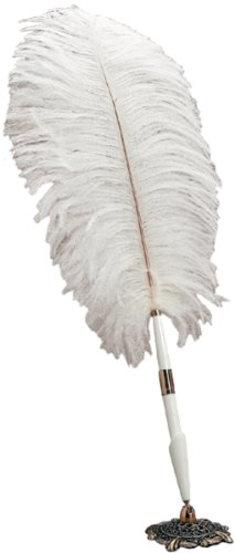 Darice 35451-01 Feather Pen with Holder, White