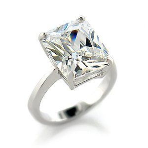 CZ ENGAGEMENT RING - Radiant Cut Solitaire CZ Engagement Ring