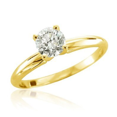 1/3 Carat Round Cut Diamond Solitaire Engagement Ring 14K Yellow Gold 4 Prong (D-F I2 0.3 c.t.w) Very Good Cut...