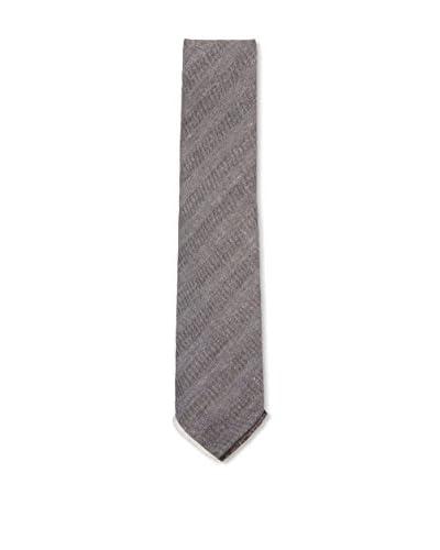 Kiton Men's Diagonal Striped Tie, Grey