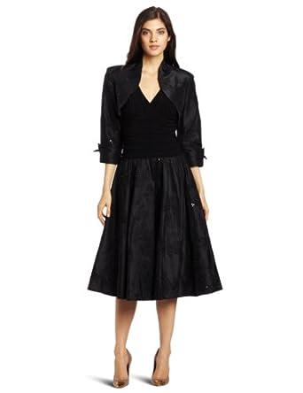 Jessica Howard Women's 2 Piece 3/4 Sleeve Bolero Jacket Party Dress, Black, 6