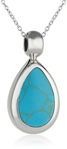 Sterling Silver Simulated Turquoise Inlay Tear Drop Pendant Necklace, 18""