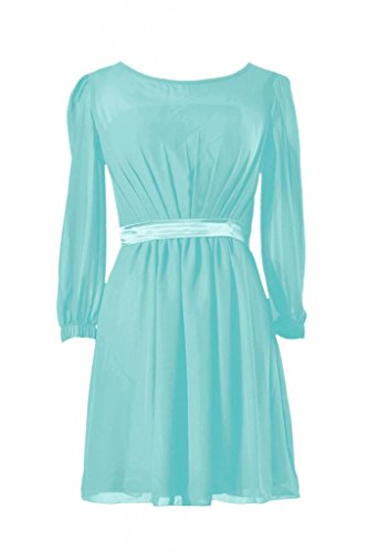 Daisyformals Short Chiffon Bridesmaid Dress W/Long Sleeves(Bm133)- Tiffany Blue