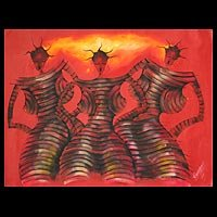 'Kpalogo Dance Movement' - Expressionist Acrylic Painting