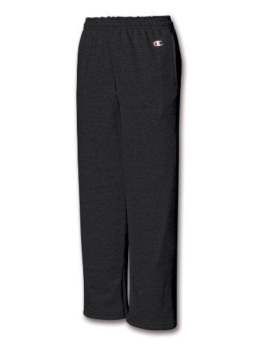 Champion Youth Double Dry Action Fleece Open Bottom Pant - Small, Black