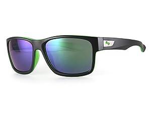 Sundog Default Sunglasses, Matte Black/Cry Green Frame/Smoke Light Green