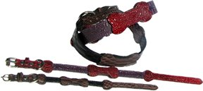 """10"""" inch brown and black Leather dog collar - pet jewelry dog collars in leather"""