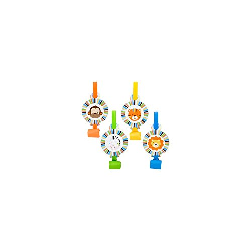 Baby Animals 1st Birthday Boy Party Blowers (8-pack) - 1