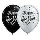 "New Year Sparkle Black & Silver 11"" Qualatex Balloons x 5"