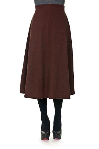 Dani's Choice Elastic Waist A-line Flared Long Skirt (M, Brown)