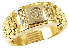 14k Yellow Gold White Rhodium, Signet Fancy Flex Band Ring with Brilliant Lab Created Gem