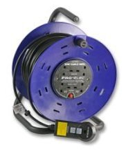 Cable extension reel with RCD protection