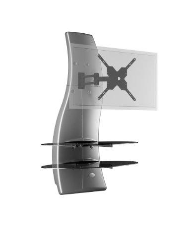"""Meliconi Ghost Design 2000 Rotation Silver - Supporto Doppio Braccio Orientabile per TV da 32"""" a 63"""" con Mensole in Vetro Temperato"""